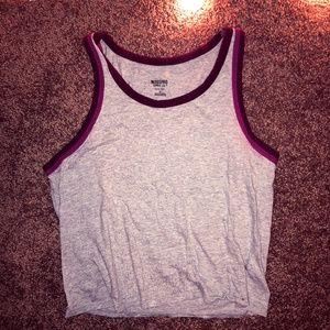 Sporty, Sleeveless Gray/Purple/Pink Tee